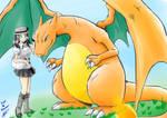 Pokemon X - my trainer and charizard