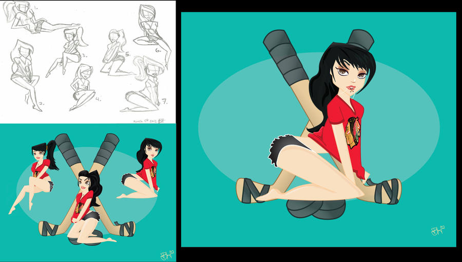 Black Hawks Pin-up Design Process by B-Rye1001