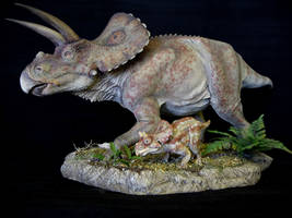 Torosaurus and Baby 2 by Baryonyx-walkeri