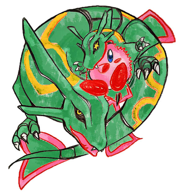 [Pokemon Charity] Rayquaza and Kirby by kaus-quietis