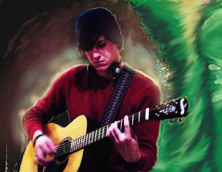 Playing the guitar Green and Blackseklioe by mushroomGOD121