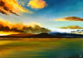 Blue Sky - Golden Clouds by MarianthiZ