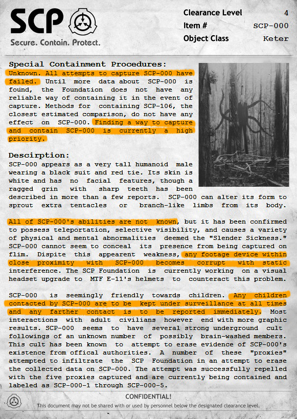 SCP-000  Document: The Slenderman by ProfessorNature