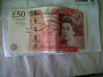 Fifty Pound note by AyumiCoza