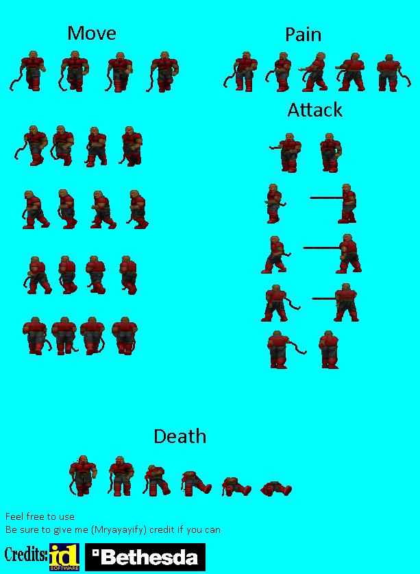 ZDOOM Sprite Sheet: Classicized Melee Commando by Mryayayify