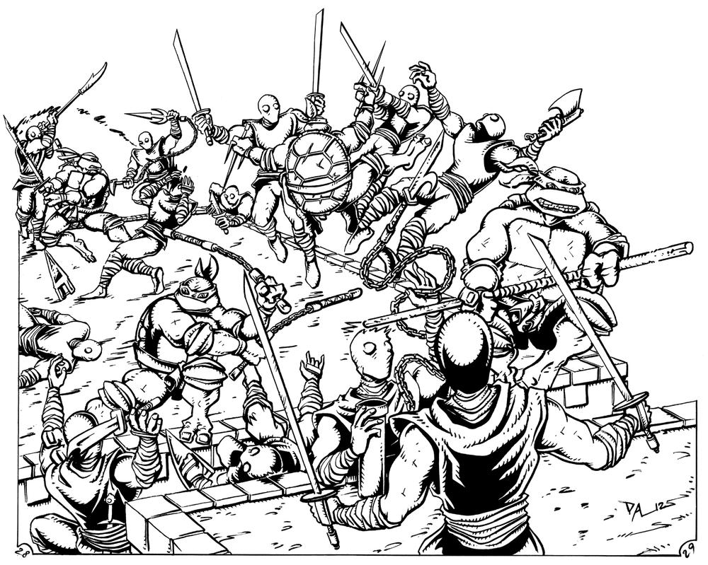 Line Art Ninja : Ninja turtles battle with foot by arseniydubakov on