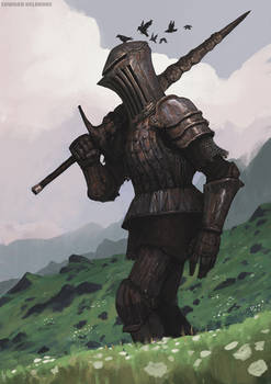 Rusty giant Knight from the hills of something