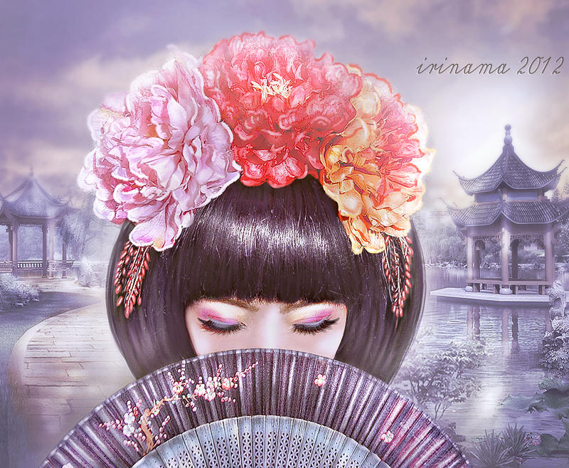 Asian girl with fan by irinama