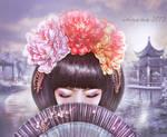 Asian girl with fan