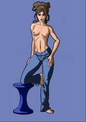 Semi-nude woman by Mercvtio