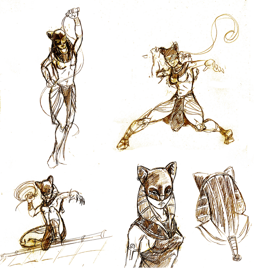 Batman Ancient Times - Sketchdump Catwoman/Bastet by Mercvtio