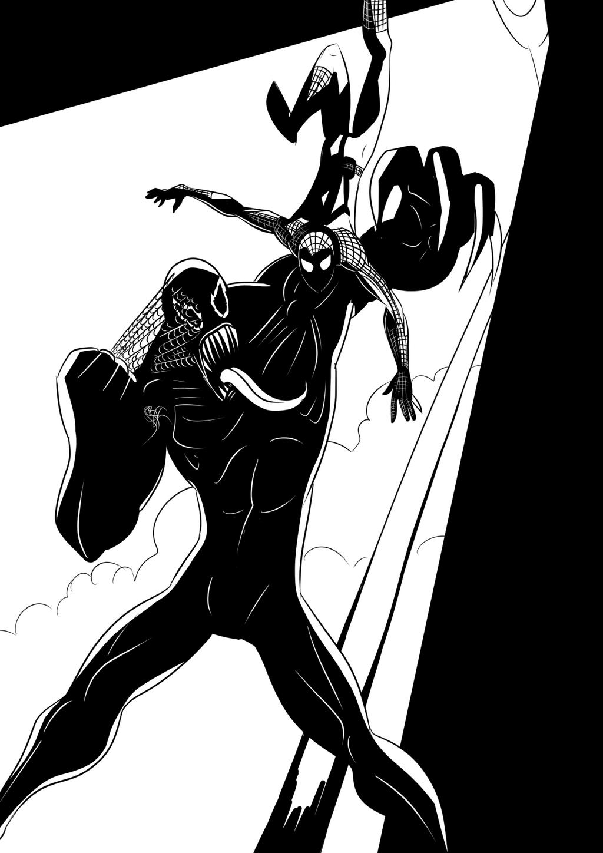 Inktober - Spidey Vs Venom by Mercvtio