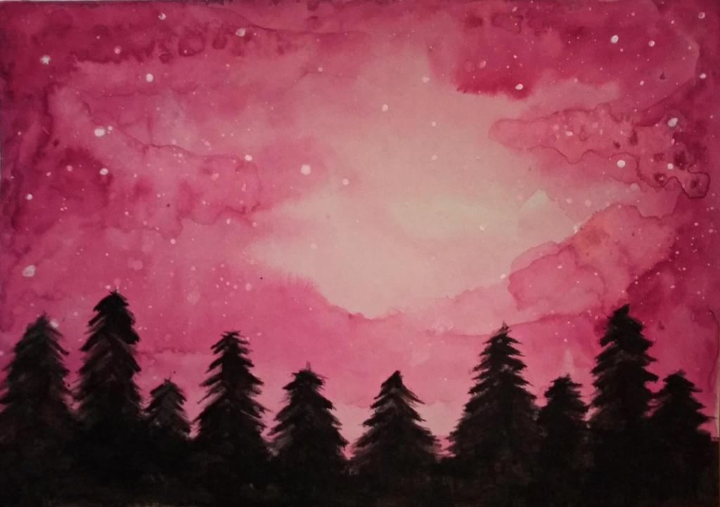 pink galaxy forest by fannigyori on deviantart