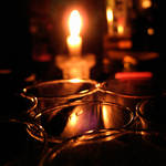 candle's light in the glasses