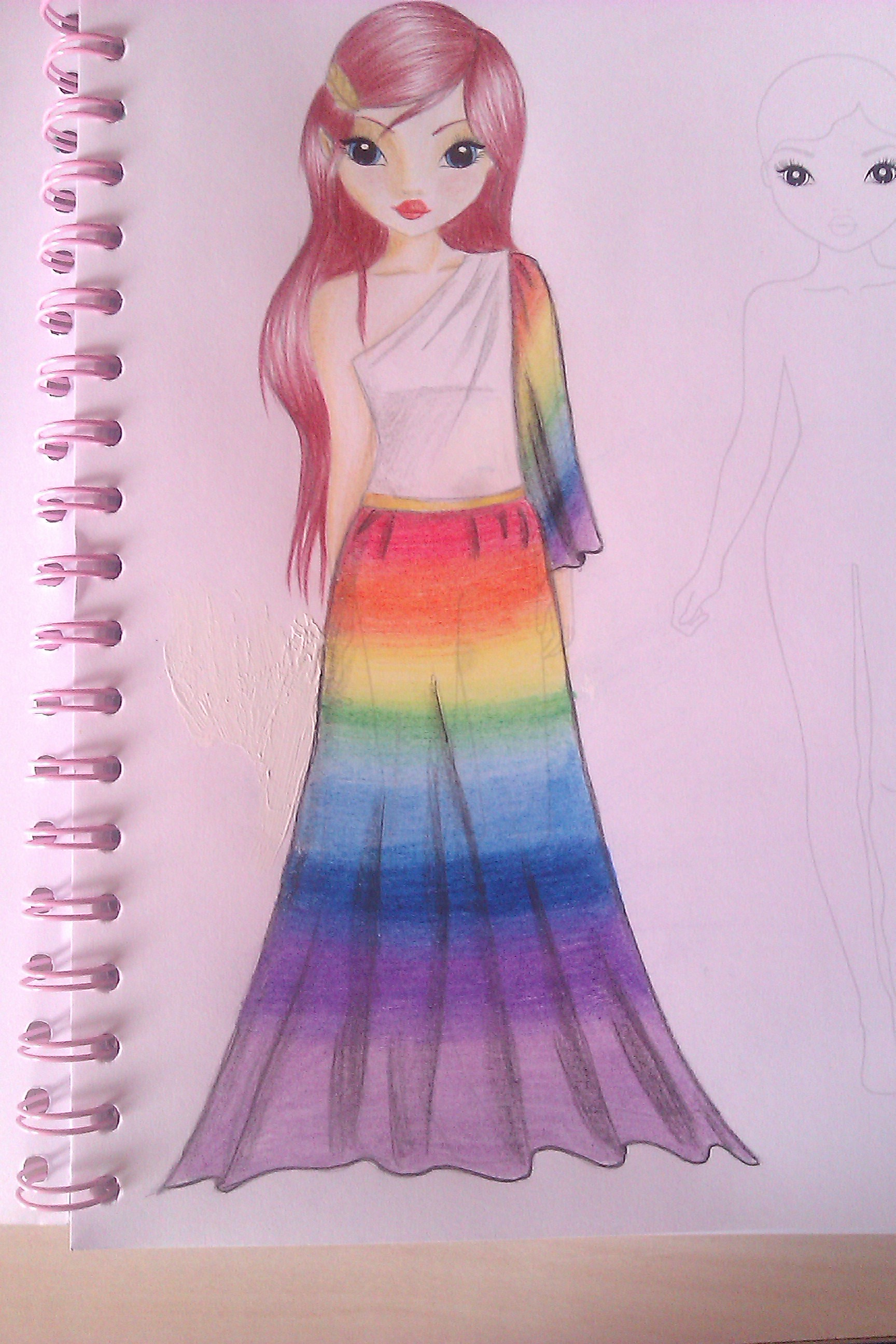TOPmodel Drawing Rainbow Dress By MysteriousGirl xx On