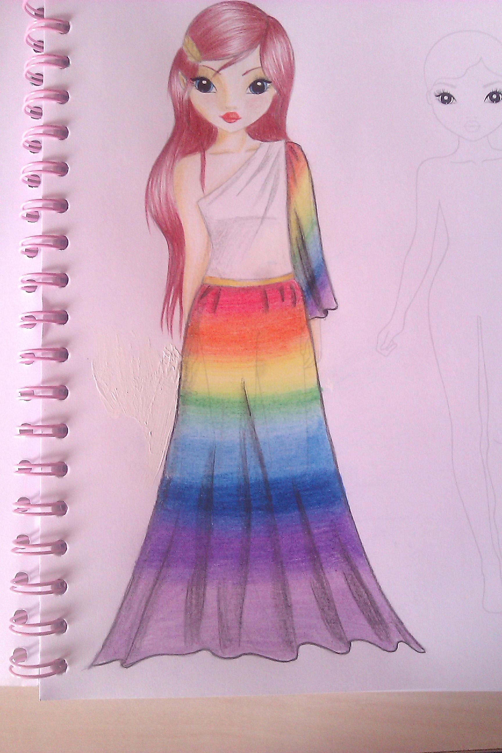 TOPmodel drawing rainbow dress by MysteriousGirl-xx on ... on Top Model Ideas  id=64245