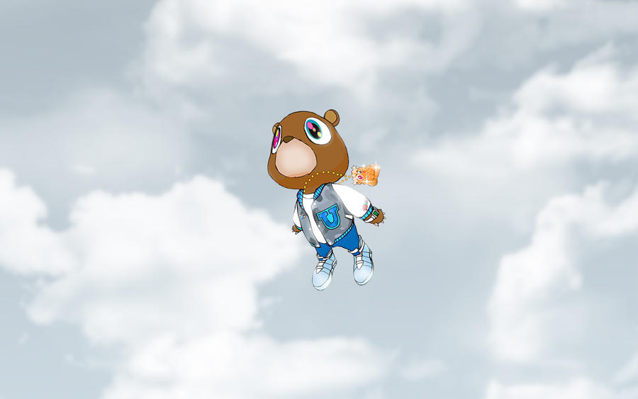 kanye west bear background. kanye west graduation ear.