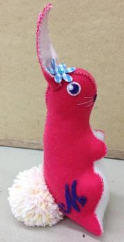 Felt Retro Design Easter Rabbit in Pink
