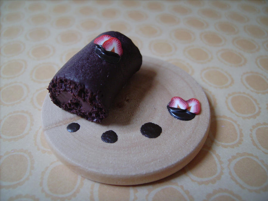 cute polymer clay chocolate cake roll miniature by AliceCharms