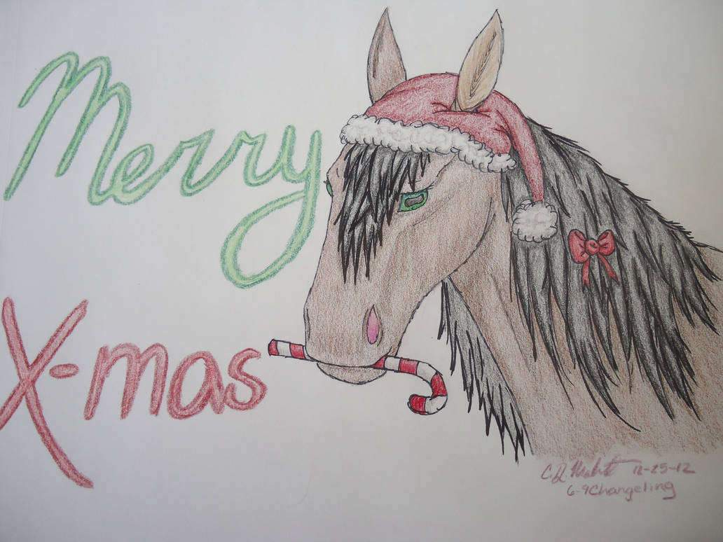 Christmas Horse Drawing.Colored Christmas Horse By 6 9changeling On Deviantart