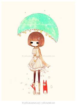 Blue Green Umbrella