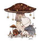Village Under the Starry Mushroom
