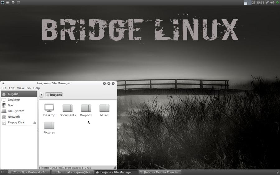 Dropbox en Bridge Linux 2012 Xfce