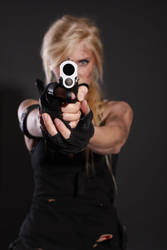 Tomb Raider/ Sarah Connor like Stock 3 - Aiming by KaylaDavion