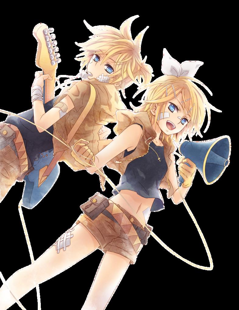 Renders Pokémon & Vocaloid Len_and_rin_render_by_katkoyox-d4u0pfm