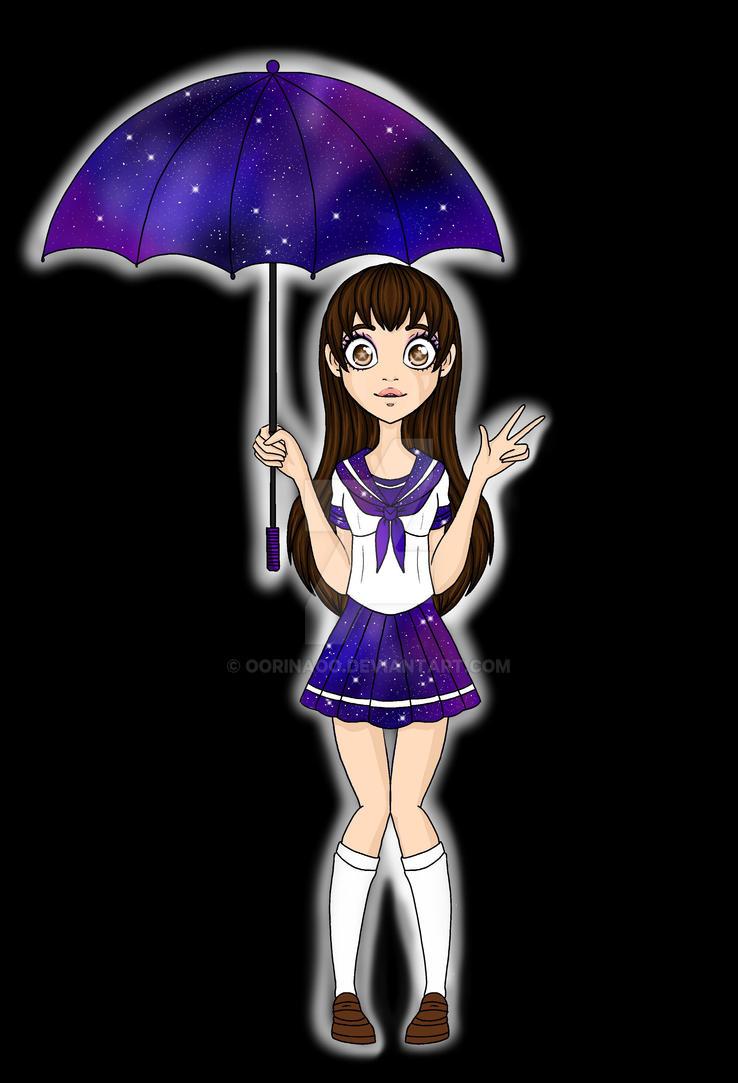 Galaxy Umbrella School Girl by oORinaOo