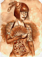 Steampunk Coffee-Painting Octopus-Lady by Dinoforce