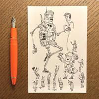 Robot Flower Man Sketch