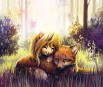 Two foxes in the forest