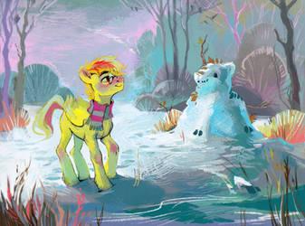 Snow kirin by DearMary