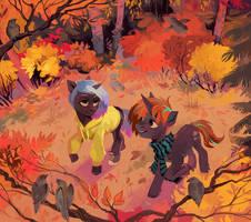walking in the autumn by DearMary