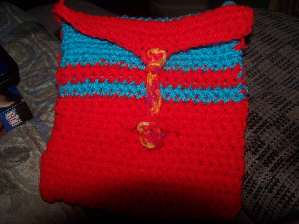 Crochet Medicine Bag Pattern : Red and turquoise crocheted medicine bag by Half-Wolf ...