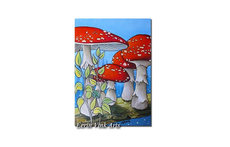Aceo art card, mushrooms by EerinVink
