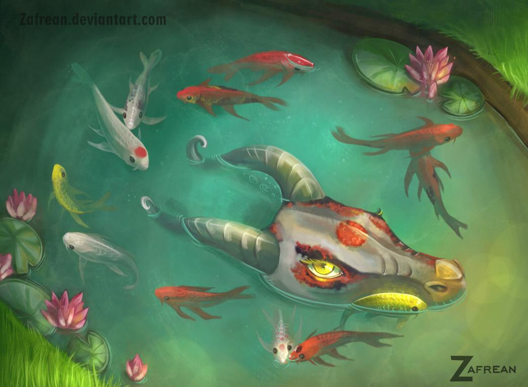 Butterfly koi pond by zafrean on deviantart for Koi fish pond art
