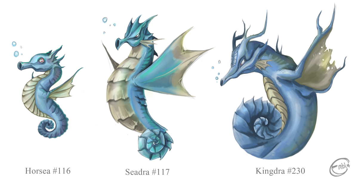 Horsea, Seadra and Kingdra