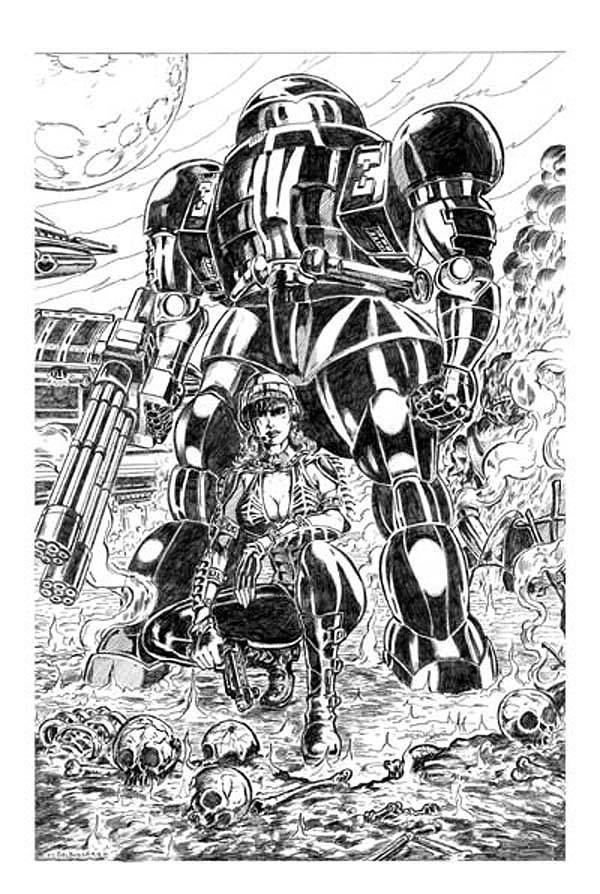 girl and giant robot by direk-ramie