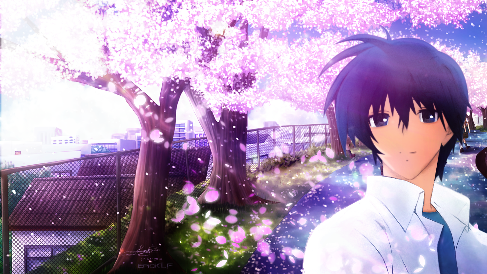 tomoya okazaki from clannad walpaper by epicklf on deviantart