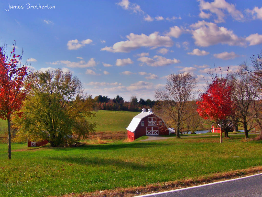 Red Barn In Autumn by jim88bro