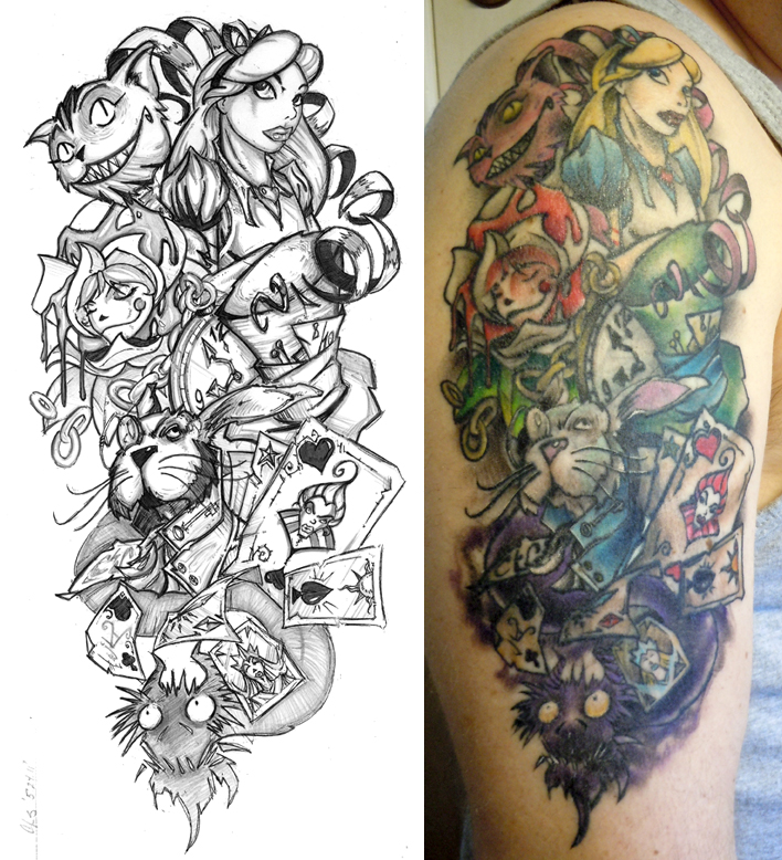 Alice half sleeve finished by cogitat on deviantart for Half sleeve tattoo sketches