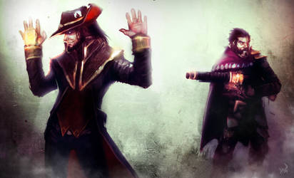 League of Legends Rivals: Twisted Fate vs. Graves by Aths-Art