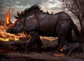 Fire Horn Rhinos by Aths-Art
