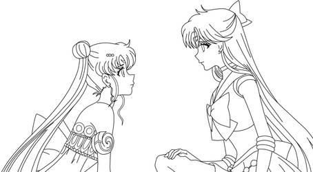 Minako y Moon Lineart by TihanaPimentel