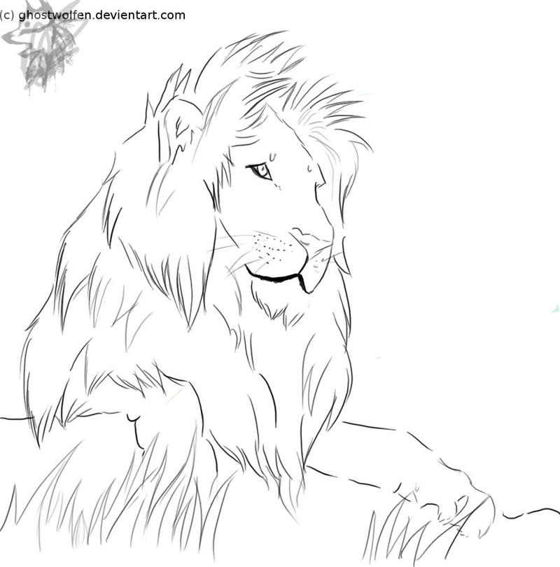 Line Art Lion : Realism lion lineart by ghostwolfen on deviantart