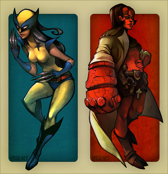 Hellgirl and wolverina by loish