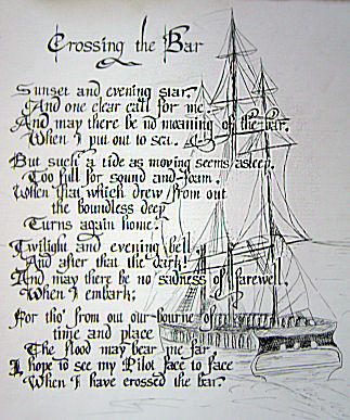 crossing the bar tennyson Back to top crossing the bar by alfred, lord tennyson sunset and evening star, and one clear call for me and may there be no moaning of.