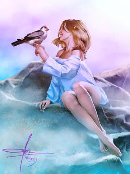 Elven Girl + Falcon